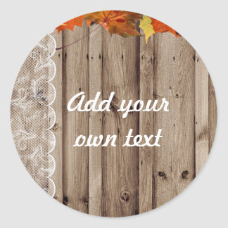 Add your own text Fall Invite Classic Round Sticker