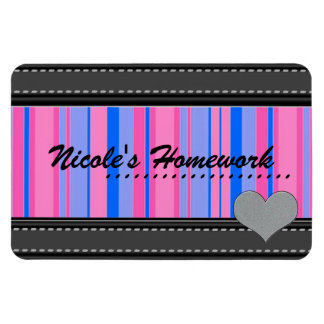 Add Your Own Text Pink and Blue Designer Magnet