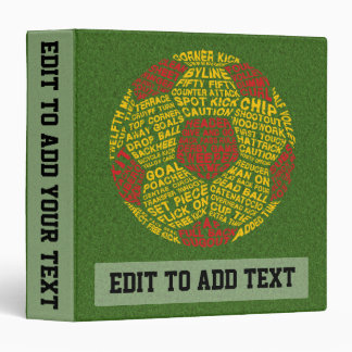 Add Your Own Text Soccer Typography Ring Binder