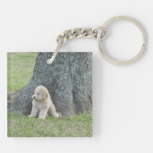Add Your Personal Photo to Black Mosaic Pattern Keychain