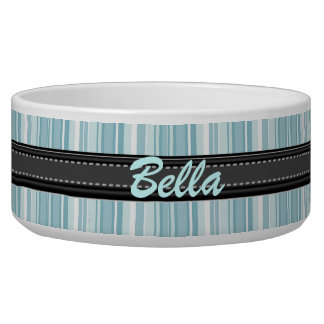 Add Your Pet's Name Blue Stripes Large Bowl