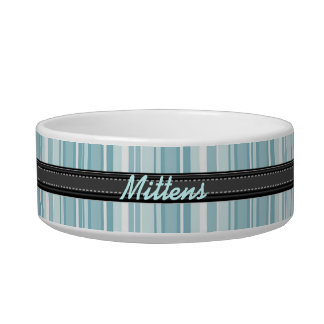Add Your Pet's Name Blue Stripes Small Bowl
