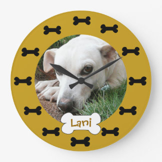 Add Your Pets Photo Black and Gold Dog Bones Large Clock