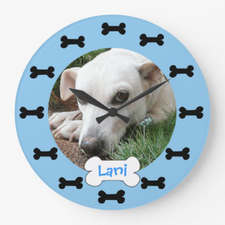 Add Your Pets Photo Blue and Black Dog Bones Round Wall Clocks