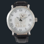 "Add Your Pet&#39;s Photo Cute Dog Picture Maltese Watch<br><div class=""desc"">Easily customize this clock with your own pet&#39;s portrait photo in the center.</div>"