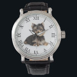 """Add Your Pet's Photo Cute Dog Picture Wrist Watch<br><div class=""""desc"""">Easily customize this classic wrist watch with your own pet"""