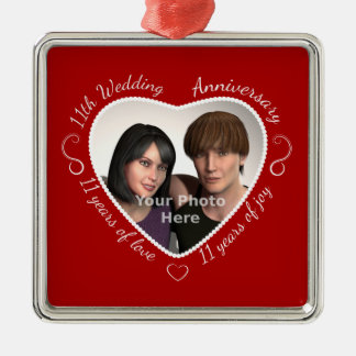 Add Your Photo 11 Years of Marriage Metal Ornament