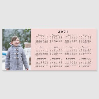Add Your Photo 2021 Calendar on Coral Pink