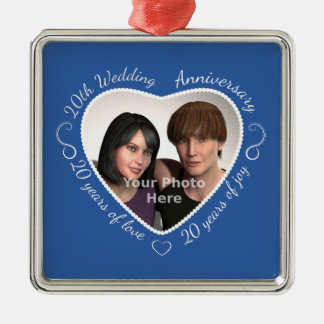 Add Your Photo 20 Years of Marriage Metal Ornament