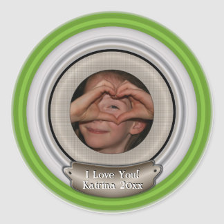 Add Your Photo and Choose Any Color Frame Classic Round Sticker