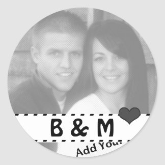 Add Your Photo and Initials Round Love Stickers