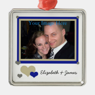 Add Your Photo and Names Blue With Hearts Ornament