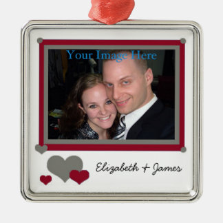 Add Your Photo and Names Red With Hearts Ornament