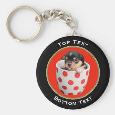 Add Your Photo And Text Custom Keychain at Zazzle