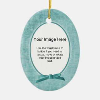 Add Your Photo - Aqua Chenille Oval Template Ceramic Ornament