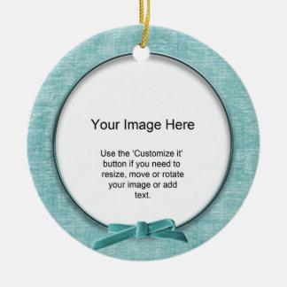 Add Your Photo - Aqua Chenille Round Template Ornament