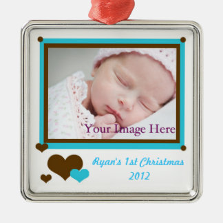Add Your Photo Baby Boy First Christmas Ornament