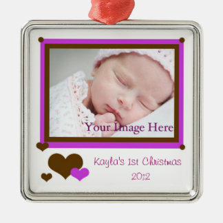 Add Your Photo Baby Girl First Christmas Ornament
