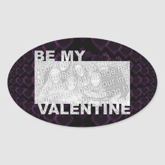 ADD Your Photo Be My Valentine Frame - Goth Hearts Oval Stickers