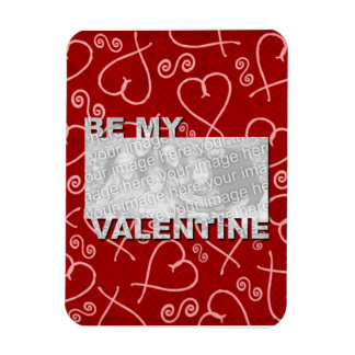 ADD Your Photo Be My Valentine Frame - Red Hearts Flexible Magnet
