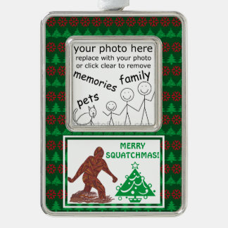 Add Your Photo Bigfoot Sasquatch Funny Christmas Silver Plated Framed Ornament