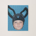 Add Your Photo Blue Bunny Ears Jigsaw Puzzles