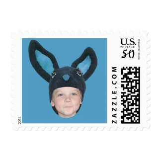 Add Your Photo Blue Bunny Ears Postage