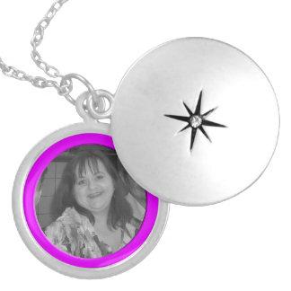 Add your photo bright pink Frame Round Locket Necklace