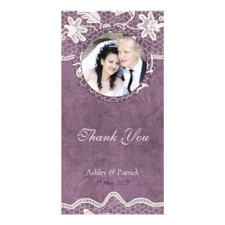 Add Your Photo Elegant Lace on Violet Background T Card