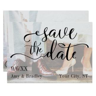 Add Your Photo, Elegant Script, Save the Date Card