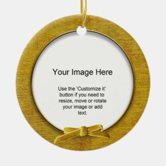 Add Your Photo - Gold Chenille Round Template Ceramic Ornament