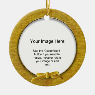 Add Your Photo - Gold Chenille Round Template Double-Sided Ceramic Round Christmas Ornament