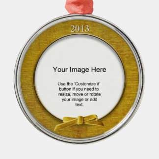Add Your Photo - Gold Chenille Round Template Ornaments
