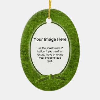 Add Your Photo - Green Chenille Oval Template Ceramic Ornament