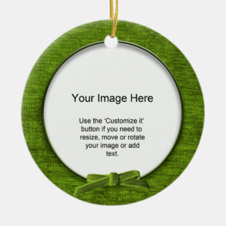 Add Your Photo - Green Chenille Round Template Double-Sided Ceramic Round Christmas Ornament