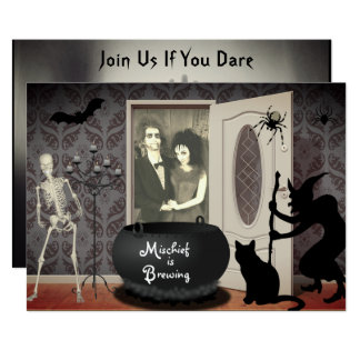 Add Your Photo Haunted House Halloween Invitation
