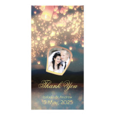 Add Your Photo Love Wish Lanterns Picture Card