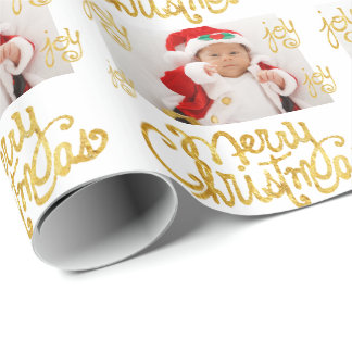 add your photo Merry Christmas gold calligraphy Wrapping Paper