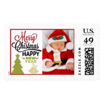 Add Your Photo Merry Christmas New Year Typography Postage