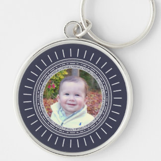 Add Your Photo   Modern Navy Blue & White Silver-Colored Round Keychain