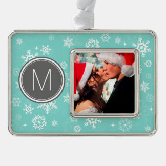 Add your photo & Monogram - Christmas Snowflakes Ornament