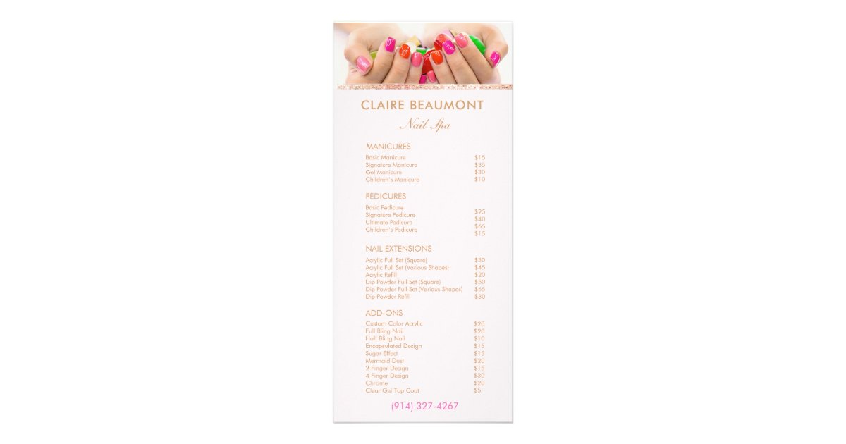 Add Your Photo Nail Salon Price List Service Menu | Zazzle.com