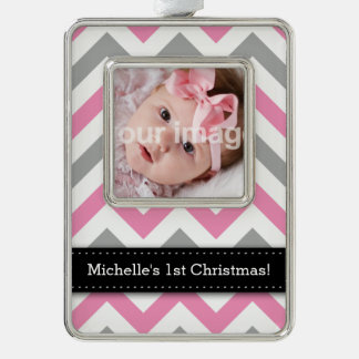 Add your photo + Name - Pink and Gray Chevron Christmas Ornament