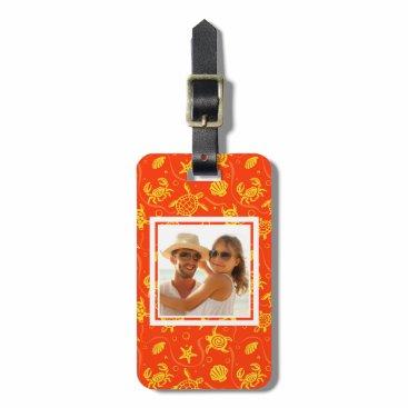 Beach Themed Add Your Photo | Orange Beach Pattern Bag Tag
