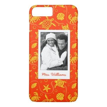 Beach Themed Add Your Photo | Orange Beach Pattern iPhone 7 Plus Case