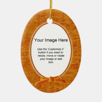 Add Your Photo - Orange Chenille Oval Template Ceramic Ornament