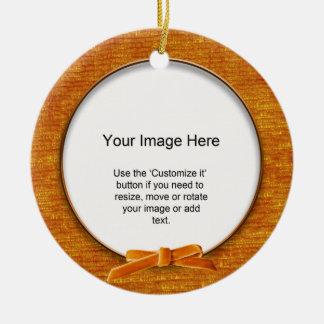 Add Your Photo - Orange Chenille Round Template Ornaments