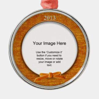 Add Your Photo - Orange Chenille Round Template Christmas Ornament