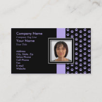 ADD YOUR PHOTO Pet Grooming Paw Print Business Card