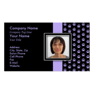 ADD YOUR PHOTO Pet Grooming Paw Print Double-Sided Standard Business Cards (Pack Of 100)